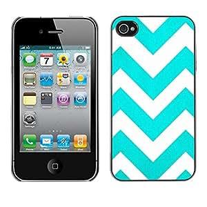 FECELL CITY // Duro Aluminio Pegatina PC Caso decorativo Funda Carcasa de Protección para Apple Iphone 4 / 4S // Teal White Stripes Pattern
