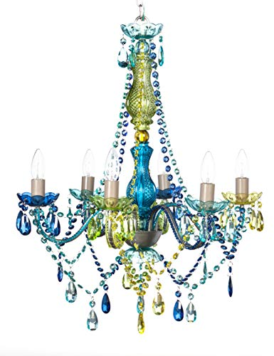 The Original Gypsy Color 6 Light Large Blue Green Gypsy Chandelier H26