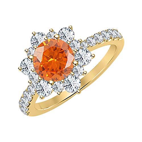 tusakha 14K Yellow Gold Round Orange Sapphire & White Diamond Engagement Wedding Cluster Flower Ring .925 Sterling Silver for Women's