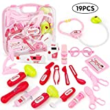 electronic doctor - JoyGrow Doctor Kit with Electronic Stethoscope 19 PCS Pretend Play Medical Toys Set Pack in Pink Durable Gift Case Doctor Toys for Girls and Kids