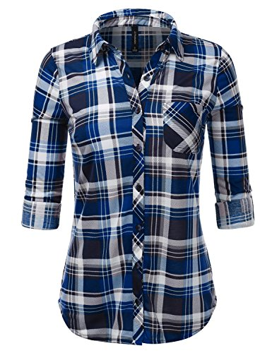 JJ Perfection Womens Checkered Long Sleeve Collared Button Down Plaid Flannel Shirt BLACKROYAL (Blue Plaid Woven Shirt)