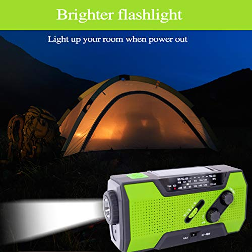 Emergency Weather Solar Crank AM/FM NOAA Radio, with 2000 mA Rechargeable Power Reading Lamp Led Flashlight SOS Alarm USB Charging Multi-Function Design for All Kinds of Emergency Situations. by JU FENG (Image #3)
