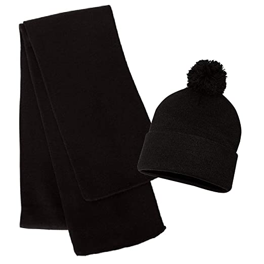 f3a05b7bd0c Couver Solid Knit Beanie Scarf Set - Roll Up Cuff Blaze Beanie with Pom Pom  at Amazon Men s Clothing store