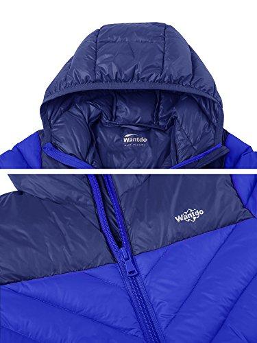 Wantdo Boy's Lightweight Packable Puffer Down Jacket Hooded Windproof Color Block Winter Coat(Sapphire Blue, 8) by Wantdo (Image #4)