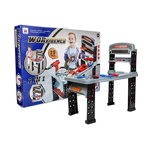Big Daddy 2 In 1 Work Bench (Extra Large) And Junior Power Tool Station With Lots Of Accessories - Be Like Dad - Pretend To Be A (2 Station Workbench)