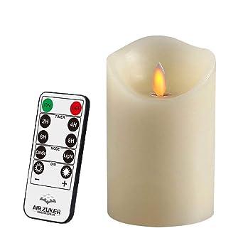 Batteriebetriebene Kerzen Mit Beweglicher Flamme.Air Zuker Led Kerzen Mit Beweglicher Flamme Echt Flammen Effekt Led Echtwachskerzen 10 Key Fernbedienung Und Timer Klassische Stumpenkerze