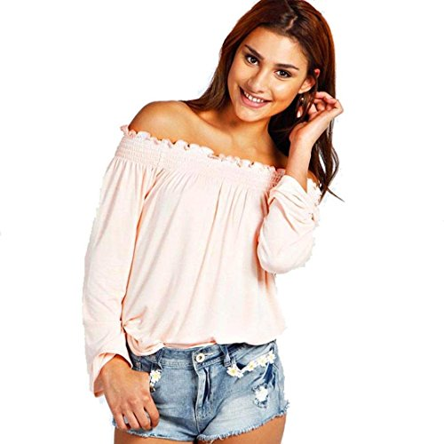 manches Rose Mode Off sexy fminine Blouse T paule occasionnel Minetome Parti shirt P1qpXwfqO