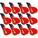 Efaster 12 Pcs Feed Automatic Bird Coop Poultry Chicken Fowl Drinker Water Drinking Cups,Livestock Drinking Bowl,Chickens peck Yellow Trigger to Fill Cup Container (6 PCS)