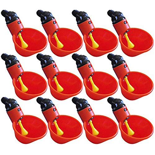 Fan-Ling 12Pcs Livestock Drinking Cup, Feed Automatic Bird Coop Poultry Chicken Fowl Drinker Water Drinking Cups for Chicks Chicken Duck Quail ()