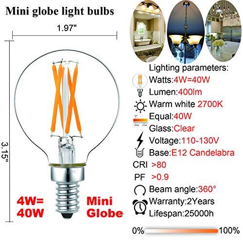Dimmable g16.5 led Bulb e12 g16 1/2 led Candelabra Bulb 40w led Edison Bulb 2700K 400lm ac120v 4w g50 led Globe Bulb for Chandelier,Vanity and Ceiling Fan Light Bulbs 6Pack