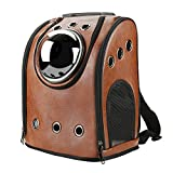 Texsens Innovative Traveler Bubble Backpack Pet Carriers Airline Travel Approved Carrier Switchable Mesh Panel for Cats and Dogs (One Size, Coffee)