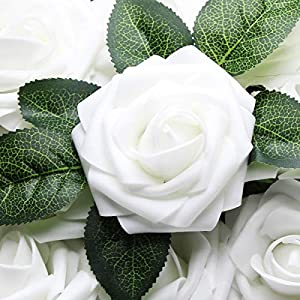 Artificial Flowers Real Touch Fake Latex Rose Flowers Home Decorations DIY for Bridal Wedding Bouquet Birthday Party Garden Floral Decor - 25 PCs 4