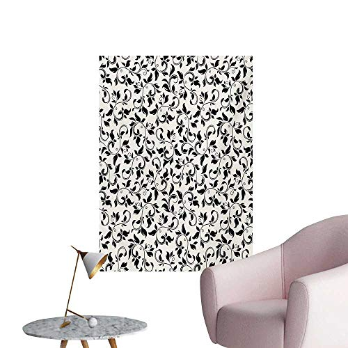 Cream Leaf Wallpaper - Anzhutwelve Leaf Wall Paper Black and White Pattern with Swirled Skinny Branches with Leaves Old Fashioned ScrollBlack Cream W24 xL36 Wall Poster