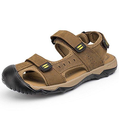 Senderismo Bucle al de Sandalias para libre hombre Gancho de cerrada Caqui Sandalias trekking aire Zapatos Zapatos Punta cuero 1OcXYAqqw