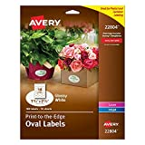 Avery Easy Peel Print-To-The-Edge BeUim Permanent Labels, Oval, Laser/InkJet, 1.5 x 2.5-Inches, Glossy White, 180 Count (5 Pack)