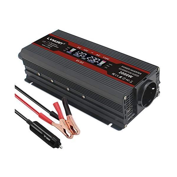51pF JAO 1L LVYUAN Spannungswandler 12V 230V 1000W / 2000W Wechselrichter LCD mit 2 USB
