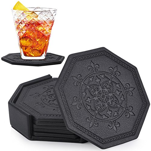 Coasters,Set of 6 in Holder,Handmade Vegan Leather Unique Octagon Coasters for Drinks Glasses Wine Tea by CloudLyMo (Sets Coaster Unique Drink)