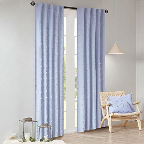 (Urban Habitat Brooklyn Cotton Jacquard Pom Rod Pocket Back Tab Window Treatment Curtain Panel Drapes for Bedroom Living Room and Dorm, 42