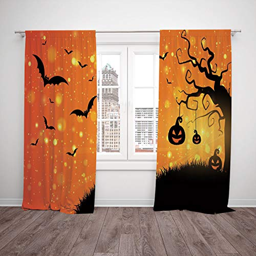 Thermal Insulated Blackout Window Curtain,Halloween,Magical Fantastic Evil Night Icons Swirled Branches Haunted Forest Hill Decorative,Orange Yellow Black,Living Room Bedroom Kitchen Cafe Window Drape for $<!--$114.99-->