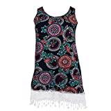 Women Mini Dress, Malbaba Plus Size Ethnic Print O-Neck Crochet Lace Tassel Casual Tank Dress Mini Dress (2XL, Purple)