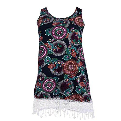 Women Mini Dress, Malbaba Plus Size Ethnic Print O-Neck Crochet Lace Tassel Casual Tank Dress Mini Dress (2XL, Purple) by Clearance Malbaba- Dress