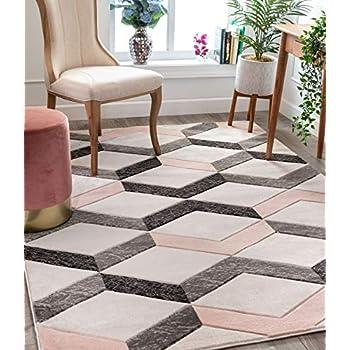 Amazon Com Pinbeam Area Rug Colorful Abstract Pink Grey