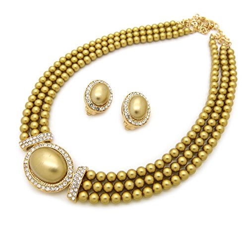 Gold Pearl Set (Women's 3 Rows Rhinestone Trimmed Simulated Pearl Statement Necklace, Clip on Earrings Set (Gold))