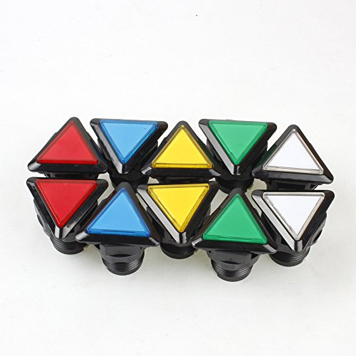 EG STARTS 10 Piece/lot Triangle LED Illuminated Push Buttons with Micro Switch for Arcade Machine Games Kits Parts Jamma Mamma Raspberry Pi 2 3 Controller ( Each Color of 2 Piece ) ()