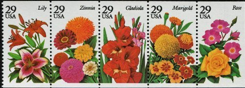 1994 GARDEN FLOWERS #2833a Booklet Pane of 5 x 29 cents US Postage Stamps by -