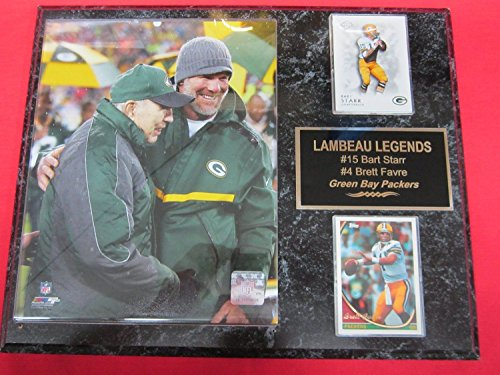 - Bart Starr Brett Favre Green Bay Packers 2 Card Collector Plaque w/8x10 FAVRE NUMBER RETIREMENT Photo