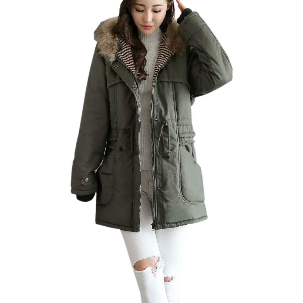 Lmtime Women Coat, Ladies Winter Fleece Down Jacket Mutipy Pocket Long Sleeve Hooded Outdoor Wind Warm Zip Pocket Coat(Army Green,XL)