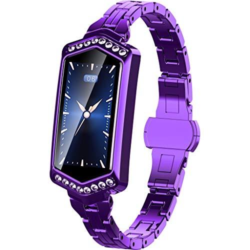 - Kutuan Women Multifunction Pretty Rose Gold-Tone Slim Belt Stainless Steel Blood Pressure&Heart Rate Sport Smart Watch Bracelet for Android iOS (Purple)