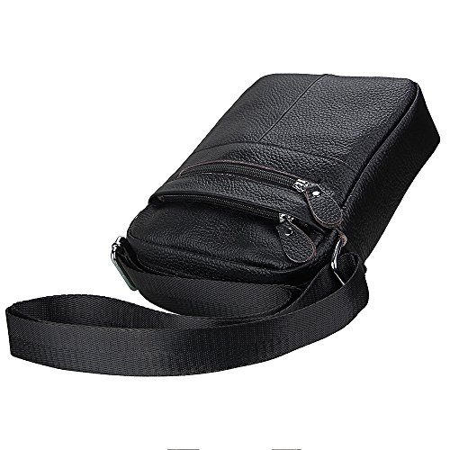 Leather Bags Bag Men's Satchel Small Shoulder Crossbody Hibate Black Messenger pxOq5Uxw