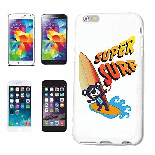 """cas de téléphone iPhone 7S """"SUPER SURF PETIT OURSON SURFING SURF SURF ENSEIGNANT WHITE HAI attaque de requin Kuscheltier"""" Hard Case Cover Téléphone Covers Smart Cover pour Apple iPhone en blanc"""