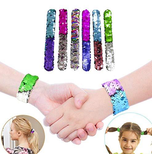 Reversible Sequin Multi-Color Fashion Party Favor 20 Pack Slap Style Velvet Lining GSM Brands Mermaid Bracelet