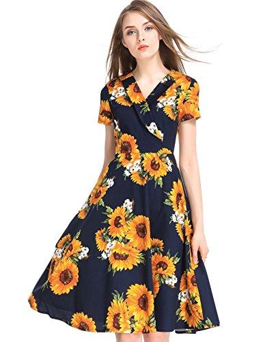 Wonderful Women Casual Dresses with V Neck, Vintage Floral Print Short Sleeve Swing Cocktail Dress(XL)