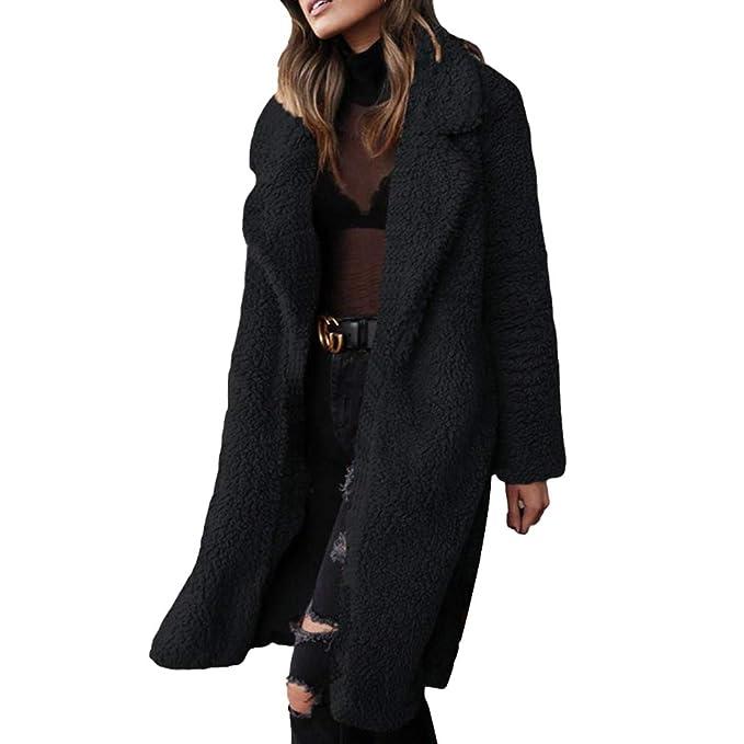 Mujer Otoño Invierno Cálido Abrigo Largo Color Sólido Manga Larga Solapa Abrigo Suave Cómodo Piel Sintética Chaqueta Outwear: Amazon.es: Ropa y accesorios
