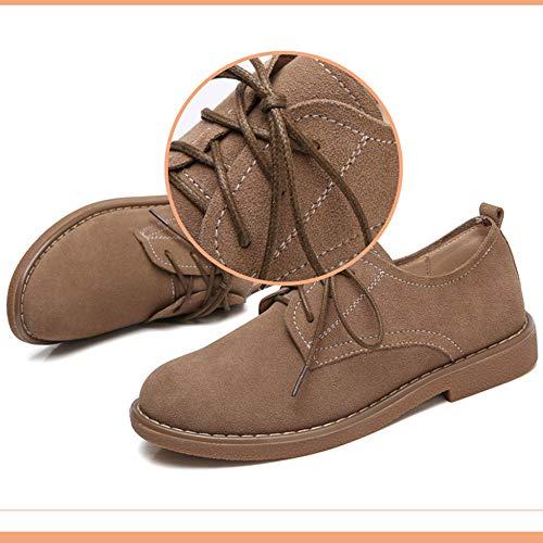 Brown Con Cuero Planos Damas Cordones Artificial De Brogue Lithapp Elegantes Informales Mocasines Zapatos Wf1nO77