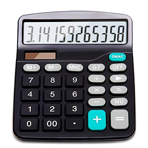 Solar Battery Basic Calculator, Solar Battery Dual Power Office Calculator, with Large LCD Display and Large Buttons (Battery Included) ()