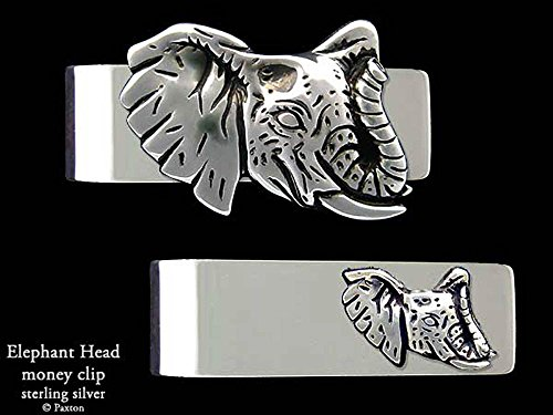 Elephant Head Money Clip in Solid Sterling Silver Hand Carved, Cast & Fabricated by Paxton by Paxton Jewelry