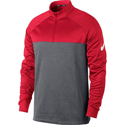 Nike Mens Therma Fit Half Zip Top (XL, University Red/Dark Grey/Heather/White) (Fit Training Top Team Therma)