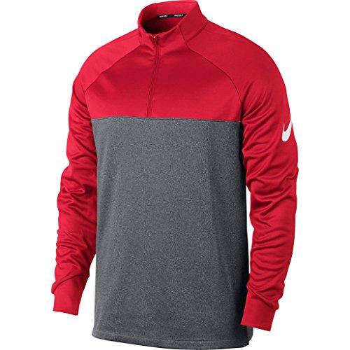 - Nike Mens Therma Fit Half Zip Top (XL, University Red/Dark Grey/Heather/White)