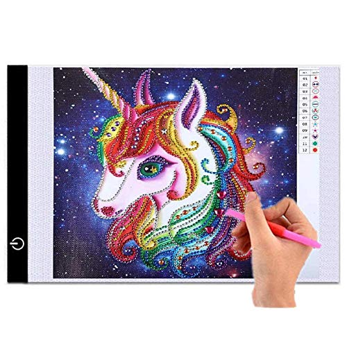 A4 LED Light Box Tracer USB Powered Ultra-Thin Adjustable LED Light Tablet Board Pad for 5D DIY Diamond Painting ()