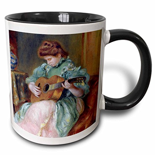 (3dRose BLN Music Featured in Fine Art Collection - Femme a la Guitare 1896 by Pierre Auguste Renoir Woman Playing Guitar - 15oz Two-Tone Black Mug (mug_171351_9))
