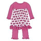 KicKee Pants Little Girls Print Long Sleeve Dress Romper, Natural Wombat, 18-24 Months