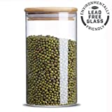 Glass Storage Jar,Kitchen Food Containers with Bamboo Lid Make It Airtight Size 3.15x5.90inches 25 oz - 750ml