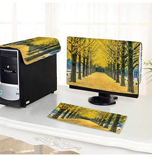 PRUNUS Desktop Computer Cover 3 Pieces Row of Yellow Ginkgo Tree in Nami Island,Korea Scratch Resistance -