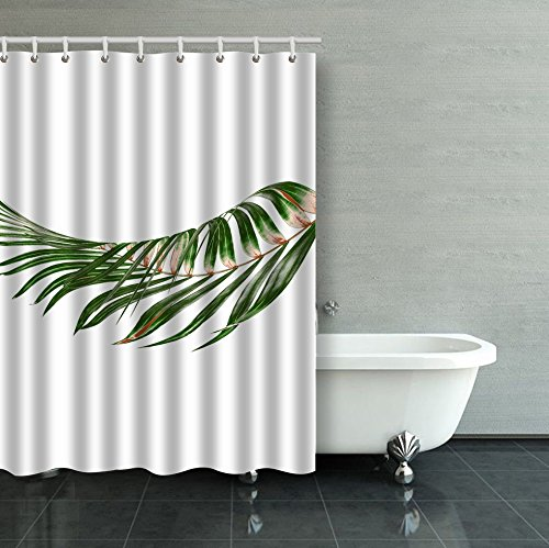 Cycas Palm Branch - Emvency Shower Curtain Waterproof Green Leaves Of Palm Tree On White Background Cotton Sofa With Plastic Hooks Polyester Fabric Adjustable Curtain For Bathroom