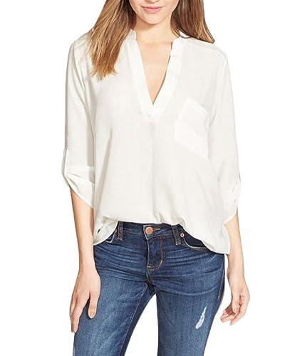 Camisa para Mujer Flojas de la Gasa de la Manga de la Camiseta Larga de la Blusa de las Tapas