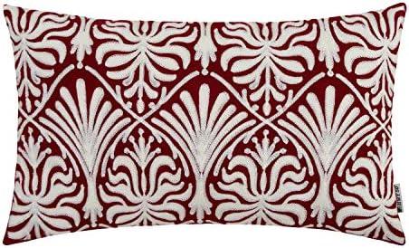 HWY 50 Fundas de cojín Decorativas Bordadas de algodón para sofá, Cama, recámara, Moderno, Sencillo, geométrico, decoración Floral, 45 x 45 cm, 1 ...